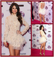 short dresses - Selena Gomez Celebrity Short Lace Dress by Marchesa Appliques Long Sleeve High Collar Cocktail Dresses See through Evening Party Dresses