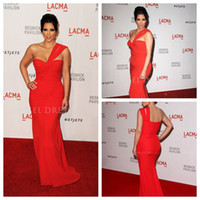 Model Pictures Chiffon Sexy 2014 One shoulder chiffon column floor length Kim kardashian at red carpet Pageant Gown special occasion dresses