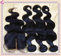Brazilian Virgin Human Hair Body Wave Under $51 Free Shipping Body Wave Middle Part 1pcs Lace Top Closure With 3 Bundles Brazilian Virgin Body Wave Human Hair Weave 4pcs lot