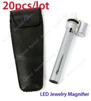 Wholesale 20pcs New X Jewelry Gem Handheld Pocket LED Light Microscope Lpoue Magnifier Pen Zoom
