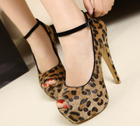 Women Pumps Stiletto Heel free hongkong post~ open toes leopard mary jane 14cm heels shoes a318
