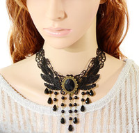 Wholesale Gothic necklace exaggerate fashion black lace water drop crystal tassels unique chokers necklaces OMT