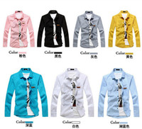 Men Silk  NEW Men's casual Slim Long Sleeve Shirts Men's Candy color shirt Dress Shirts For Men Business Shirts C210