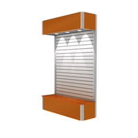Wholesale TE F DS04 shop display Aluminum Portable Slatwall with fabric panel lighting and storage