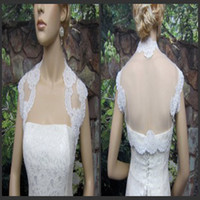 Wholesale In Stock Sleeveless Bolero Appliques White Tulle Cheap Bridal Wraps Jackets Shawl for Cathedral Church Wedding Dresses