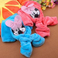 Wholesale Coral Velvet Bow Cartoon Mouse Pet Clothes Cute Mouse Pattern Four legged Coat Dog Coral Velvet Outerwear CA076