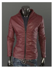 Wholesale New Fashion Men Jackets Slim Short Jackets Washing PU Leather Jackets Plus Size Motorcycle Jackets With Stand up Collar Casual Coats
