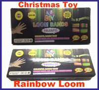 Wholesale Christmas Offer Rainbow Loom kit Silicone Rubber600 bands S clips Hook shell box packaged with Black Box DHL