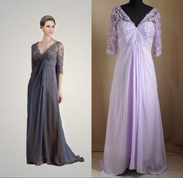 Wholesale 2013 Lace New Mother of the Bride Dresses Sexy luxury V neck chiffon short sleeves Evening Gowns