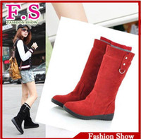 Wholesale Holiday Sale Women s Girls Suede Mid Calf Winter Warm Snow Boots Round Toe Shoes metal buckle Flat Boot AB510
