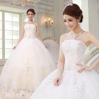 Wholesale 2014 Brand White Korean Princess Off the Shoulder Sleeveless Crystal Lace Up Strapless Tube Bride Wedding Dresses