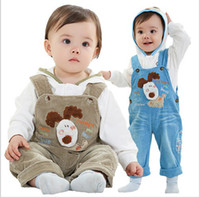 Boy baby dog collar - Brand High Quality Children Clothing Pure Cotton Cartoon Dog Suspender Trousers Baby Boys Set Year Kids Overalls Suit QZ172