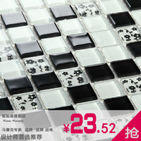 Wholesale Mosaic tile crystal puzzle tv wall tile wall stickers black small decorative pattern g44h