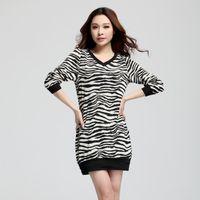 Casual Dresses xxxxl - Europe Style Ladies Plus Size Long Sleeve Zebra Stripe Print Knee Length Spring Autumn Dresses Size XL XXL XXXL XXXXL