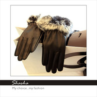 Wholesale Hot New Elegance Style Women s Rabbit Fur Leather Gloves Womens Fashion winter Five Fingers gloves Warm Wedding leather gloves