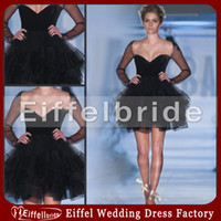 Reference Images 2011 prom - 2011 Custom made Romantic Cocktail Party Dresses Sexy Black Sweetheart Neckline and Sheer Long Sleeves Tiered Mini Ball Gown Prom Dresses
