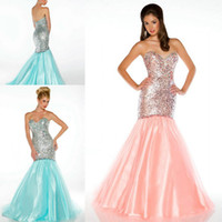 Reference Images Sweetheart Organza 2014 New Prom Gown Party Dresses With Mermaid Sexy Sweet-heart Sequins Lace Beads Pageant Peach Aqua Sku 81778 Tulle