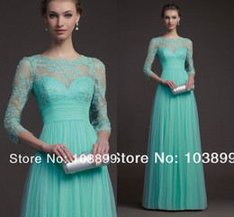 Wholesale Elegant Red Carpet Celebrity Dresses With Long Sleeves Green Chiffon Tulle Long Floor Length Evening Party Dress Gowns