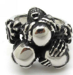Wholesale Good Quality L Stainless Steel Cool Silver Man Jewelry Best Nice Gift For Men Bone Skull Ring Ghost Price
