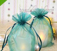 Wholesale 50pcs quot cm W x quot cm H Teal Blue Sheer Organza Wedding Party Favour Gift Candy Bag Pouch Gift Favor Holder supplies
