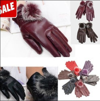 Wholesale Gloves Fashion Women Lady Rabbit Fur PU Leather Gloves Driving Winter Warm cycling Sports Gloves Five Fingers Gloves Mittens Newest