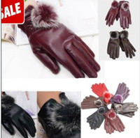 Wholesale Gloves Mittens Fashion Women Lady Rabbit Fur PU Leather Gloves Driving Winter Warm cycling Sports Motorcycle Gloves Five Fingers Gloves