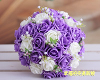 Wholesale In Stock Beautiful Wedding Bouquet Lavender Lilac Perfect Wedding Favors Hand Holding Flower Artificial Flowers Adornment Silk