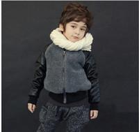 Wholesale Winter Children Jacket Baseball Style Thicken Fleece Warm Boys Leather Coat Casual Jacket Year Kids Coat QZ177