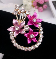 Women's assorted pins - Girl Enamel Flowers Brooch Pins Wedding Rhinestone Brooch Assorted Colors X051