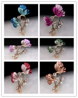 Wholesale Beautiful Enamel Flower Brooch Pins Rhinestone Brooch Assorted Colors Christmas Gift X052
