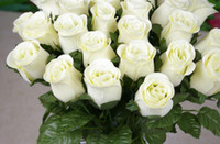 Wholesale NEW cm quot Length Artificial Simulation Silk Single Rose Half Open Roses for DIY Bride Bouquet Wedding Flower
