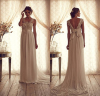 Wholesale Fashionable A Line Crew Sweep Train Chiffon Wedding Dress Bella Appliques Beads Pleats Bridal Gowns Most Popular Wedding