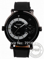 Men's Round Analog 30pcs Free Shipping Oulm 028 Double Time Show Metal Dial Male Quartz Wrist Watch Japan Movt Black Leather Band for Man