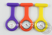 Wholesale 500pcs Nurse Silicone Gel Trendy Tunic Fob Pocktet Watch Silicon Candy Colors Brooch Quartz Watches