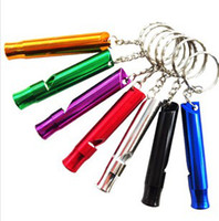 Wholesale Hot Mixed Aluminum Emergency Survival Whistle With Keychain Rescue Whistles survival