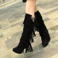 Cheap Knee Boots matte leather fringed Best Tassel Boots Women fringed boots