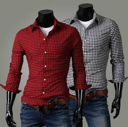 Wholesale NEW Men s casual Slim Long Sleeve Shirts Men s Small grid shirt Dress Shirts For Men Business Shirts C55