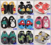 al por mayor suela de cuero para calzado-Infantil descuento grande del niño del bebé suave animal Sole zapatos de cuero 100% cuero de vaca zapatos primero Walker por 0-2T, elija el tamaño libre del color