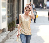 Wholesale New Arrival Women Sleeveless Tank Tops Ladies Sparkling Bling Vest Singlets Sequined Blouse Female Plus Size Blouse
