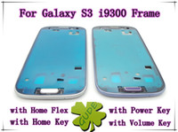 Wholesale For Samsung Galaxy S3 i9300 Assembly Middle Frame Home Flex Home Key Power Key Volume Key Original AAA Battery LCD Frame BY DHL EMS