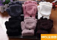 Wholesale Fashion Warm Velvet Flip Gloves Solid Color Fingerless Gloves Keyboard Gloves Unisex Winter Half fingers Gloves QG0912