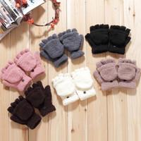 Wholesale Min order is E8279 female winter multifunctional semi finger flip thermal gloves coral fleece flip semi finger keyboard