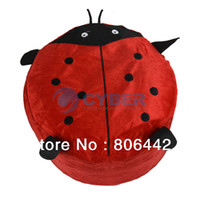 Wholesale New Cute Cartoon Ladybug Villus Inflatable Stools Pouf Chair Seat Bedroom Red Pump