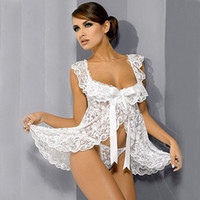 businesscn - White Black Plus Size S M L XL XXL XXXL XXXXL XL XL XL Sexy Lingerie Babydoll FrontOpen Nighty Chemise Dress Sleepwear