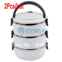 Wholesale 2Pcs Three Layers Stainless Steel Lunch Box L Keep Warm Food Container White Blue Green