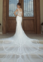 Wholesale 2014 Hot New Sexy Mermaid Embroidery Applique Galia Lahav Graceful White ivory lace Wedding Dresses Backless Bridal gown