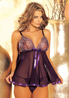 Wholesale Purple Black Plus Size S M L XL XXL XXXL XXXXL XL XL XL Sexy Lingerie Babydoll Brocade Sequin Chemise Short Gown Sleepwear Dress