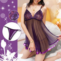 businesscn - Purple Black Plus Size S M L XL XXL XXXL XXXXL XL XL XL XL XL Sexy Lingerie Brocade Babydoll Underwear Chemise Dress Sleepwear