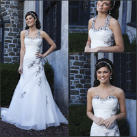 Wholesale Pretty Vintage Sweetheart Wedding Dresses With Ruffles Black Appliques Sweep Train Lace up Sexy Bridal Gown For Bride