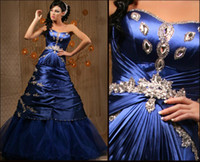 Wholesale Empire Arabic Sweet heart Ball Gown Long Royal Blue Ruffle Satin Crystals Beaded Evening Dresses